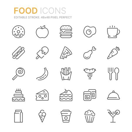 Raccolta di icone di linea relative al cibo. 48x48 pixel perfetti. Tratto modificabile Vettoriali