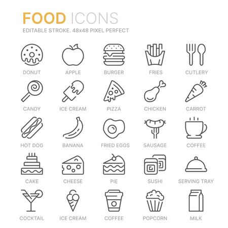 Collection d'icônes de ligne liées à l'alimentation. 48x48 pixels parfait. Trait modifiable
