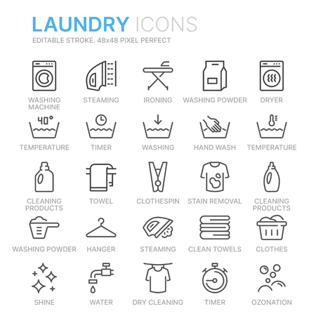 Laundry vector icons set Illustration
