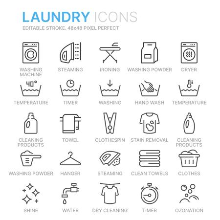 Zestaw ikon wektor pralni Ilustracje wektorowe