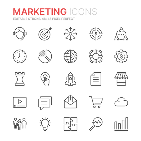 Colección de iconos de líneas de marketing. 48x48 píxeles perfectos. Trazo editable