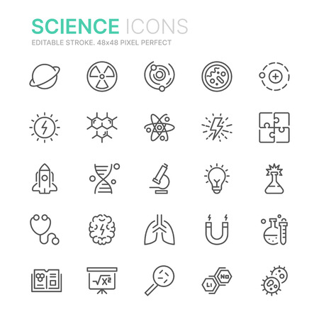Collection of science line icons. 48x48 Pixel Perfect. Editable stroke