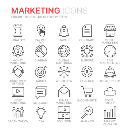 Collection of marketing line icons. 48x48 Pixel Perfect. Editable stroke