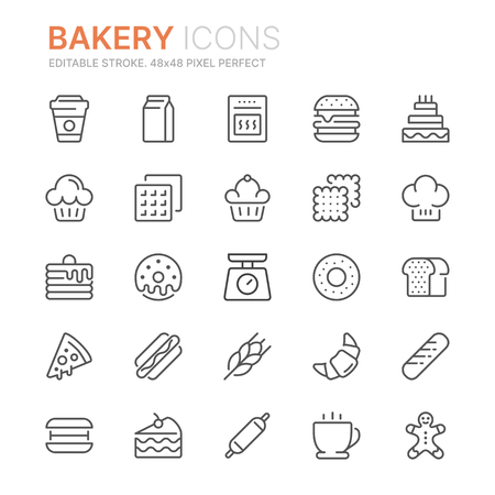 Collection of bakery line icons. 48x48 Pixel Perfect. Editable stroke