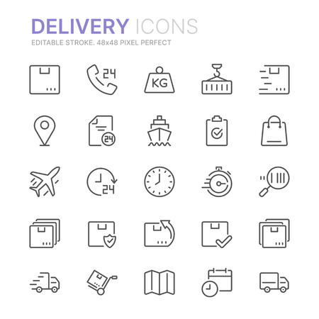 Collection of delivery line icons. 48x48 Pixel Perfect. Editable stroke Ilustração