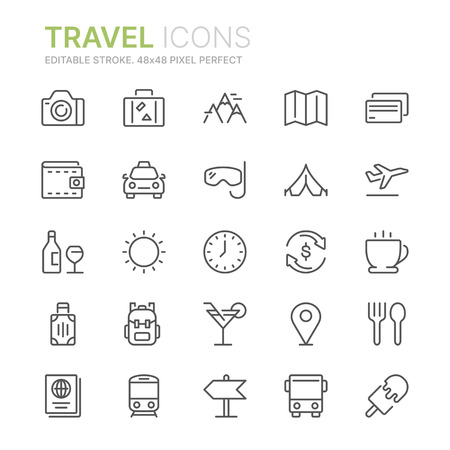 Collection of travel line icons. 48x48 Pixel Perfect. Editable stroke