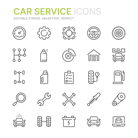 Collection of car service line icons. 48x48 Pixel Perfect. Editable stroke