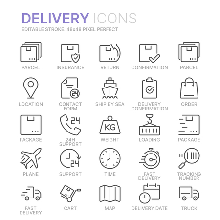 Collection of delivery line icons. 48x48 Pixel Perfect. Editable stroke Banco de Imagens - 123352422