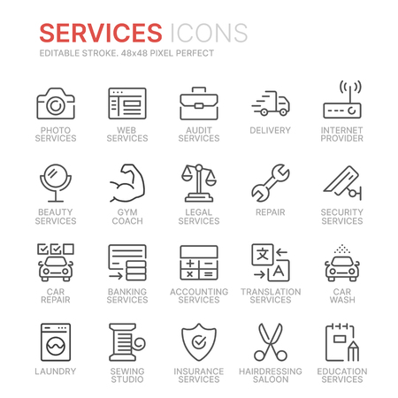 Collection of services line icons. 48x48 Pixel Perfect. Editable stroke