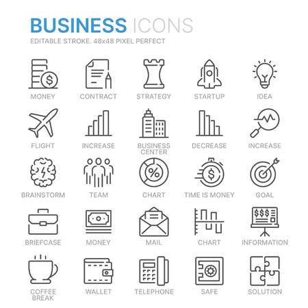 Collection of business line icons. Illustration