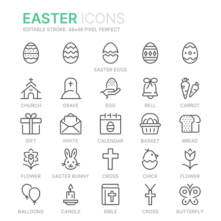 Collection of easter related related line icons. 일러스트