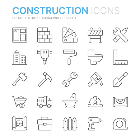 Collection of construction related related line icons. 矢量图像