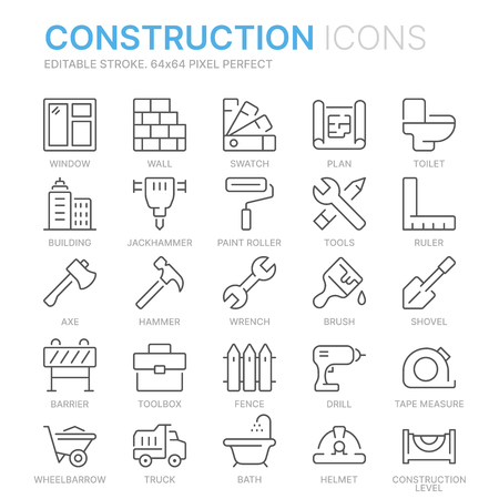 Collection of construction related related line icons. Illustration
