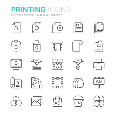 Collection of printing line icons.