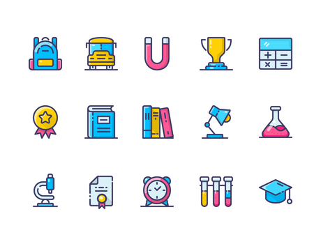 Collection of school related colorful line icons.