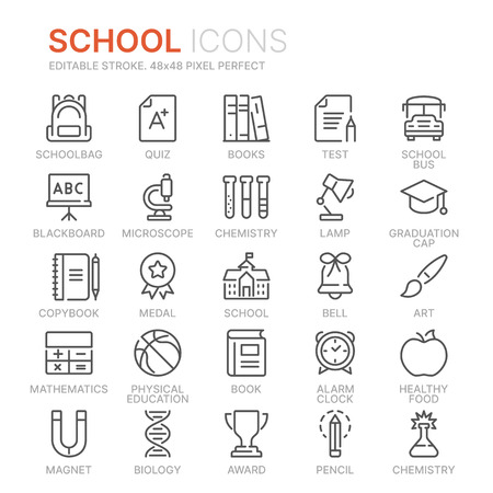 Collection of school related line icons. 48x48 Pixel Perfect. Editable stroke