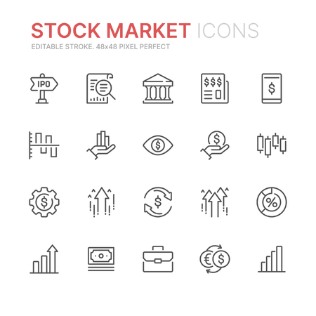 Collection of stock market related line icons. Ilustração