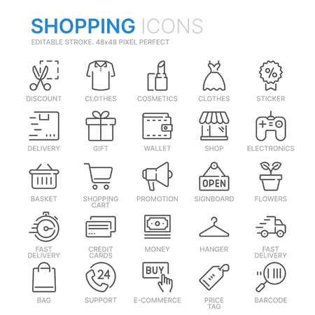 Collection of shopping related line icons.