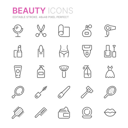 Collection of beauty related line icons. 48x48 Pixel Perfect. Editable stroke Illustration