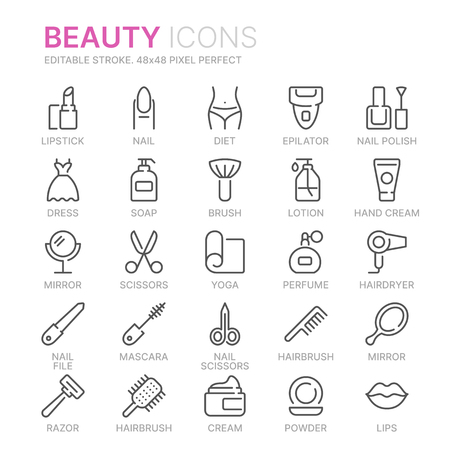 Collection of beauty related line icons. 48x48 Pixel Perfect. Editable stroke Ilustração