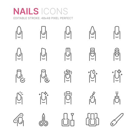 Collection of nails related line icons. 48x48 Pixel Perfect. Editable stroke Illustration
