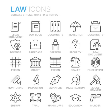 Collection of law and justice line icons. Illustration