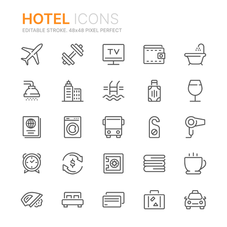 Collection of hotel line icons.