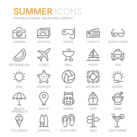 Collection of summer line icons.