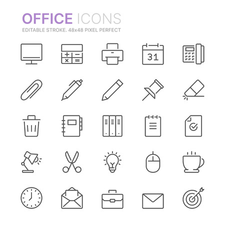 Collection of office line icons.