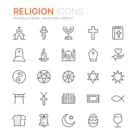 Collection of religion line icons.