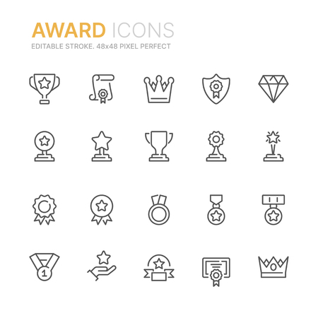 Collection of award line icons.