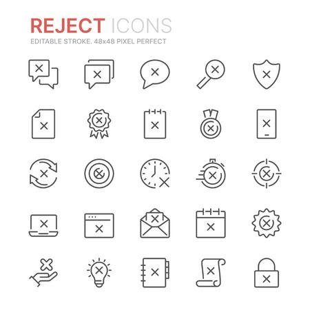 Collection of reject line icons. Ilustração