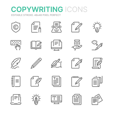 Collection of copy writing related line icons.