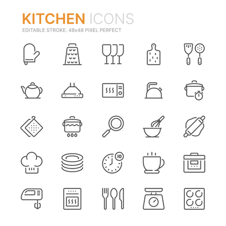 Collection of kitchen line icons. 48x48 Pixel Perfect. Editable stroke