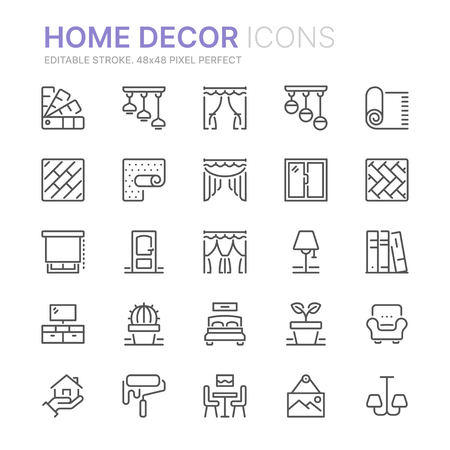 Collection of home decor related line icons.