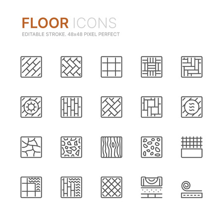 Collection of floor related line icons.