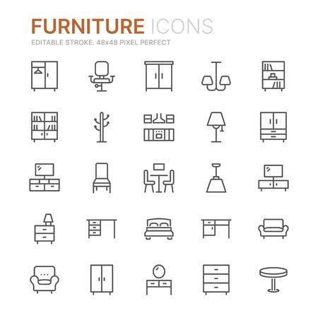 Collection d'icônes de ligne de meubles. 48x48 pixels parfait. Trait modifiable