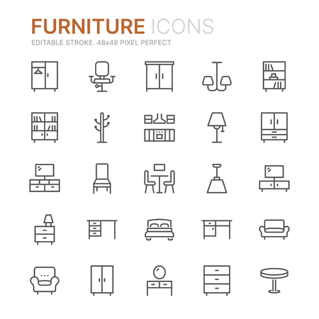 Collection of furniture line icons. 48x48 Pixel Perfect. Editable stroke Ilustração