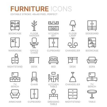 Collection of furniture line icons. 48x48 Pixel Perfect. Editable stroke Illustration