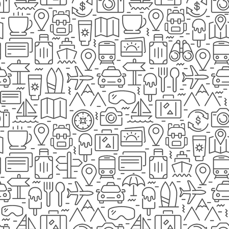 Travel seamless pattern with thin line icons