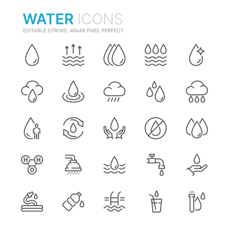 Collection of water related line icons.