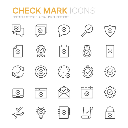 Collection of check mark icons icons.