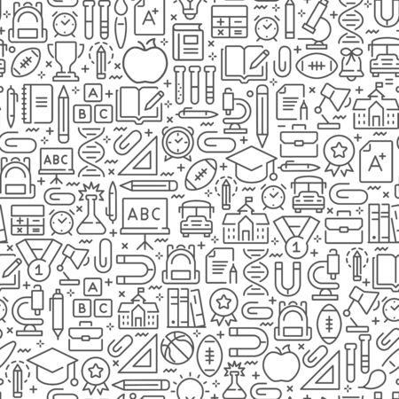 Back to school seamless pattern with line icons