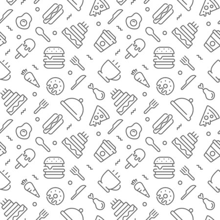 Food seamless pattern with thin line icons