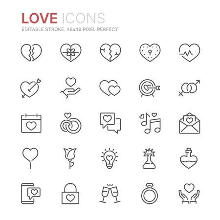 Collection of love related line icons. 48x48 Pixel Perfect. Editable stroke Ilustração