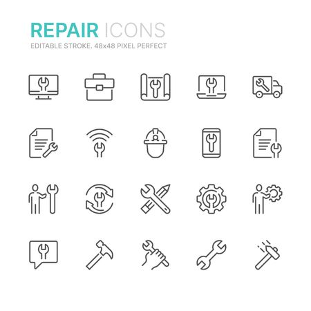 Collection of repair line icons. 48x48 Pixel Perfect. Editable stroke
