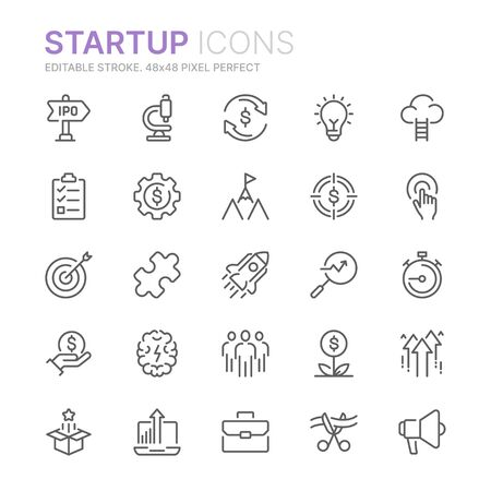 Collection of startup related line icons. 48x48 Pixel Perfect. Editable stroke Ilustração