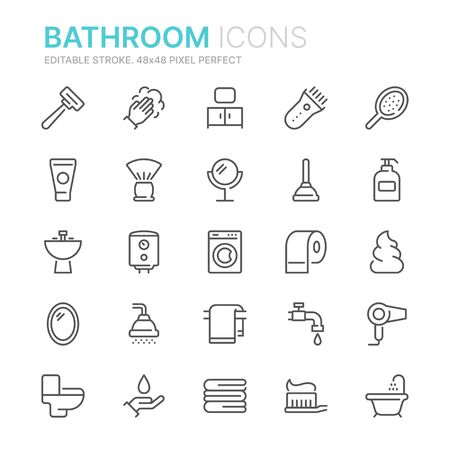 Collection of bathroom line icons. 48x48 Pixel Perfect. Editable stroke