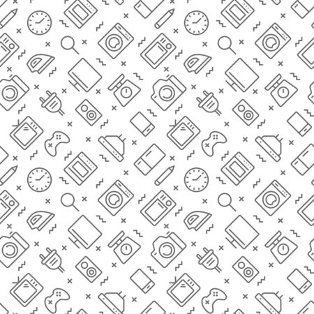 Household appliances seamless pattern with outline icons. Vector eps 10