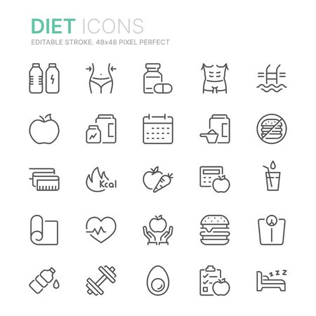 Collection of diet related line icons. 48x48 Pixel Perfect. Editable stroke